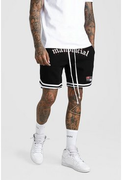 Black MAN Official Flame Mid Length Jersey Short