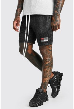 Black Animal Print Airtex Mid Length Short