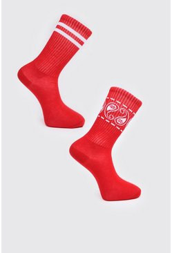 Red 2 Pack Printed Socks