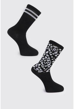 Black 2 Pack Leopard Print Sock