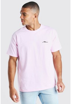 Pale pink MAN Signature Chest Embroidered T-Shirt