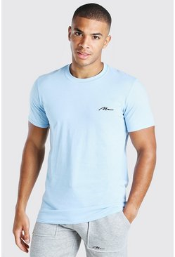 Pale blue MAN Signature Chest Embroidered T-Shirt