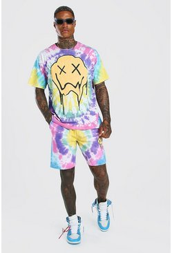 Multi Tie-dye Drip Face T-Shirt And Short Set