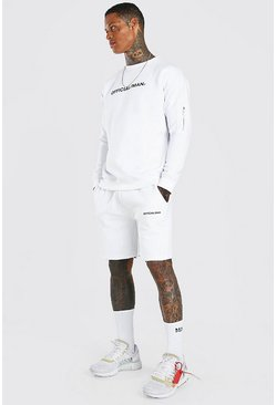 White Official Relaxed Utility Short Sweater Tracksuit
