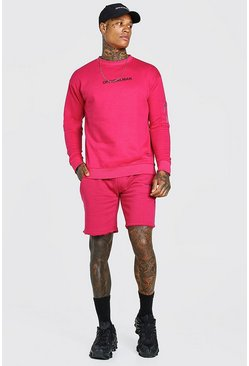 Pink Official Relaxed Utility Short Sweater Tracksuit