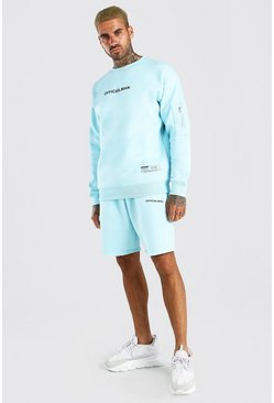 Dusty blue Official Relaxed Utility Short Tracksuit