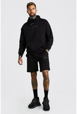 Black Oversized Official Sleeve Print Short Tracksuit