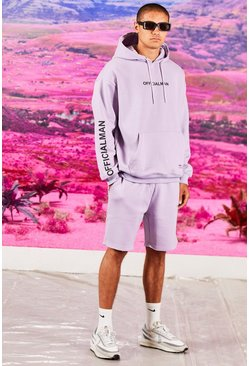 Lilac Oversized Official Sleeve Print Short Tracksuit