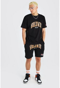 Black Loose Fit Worldwide Print T-Shirt & Short Set