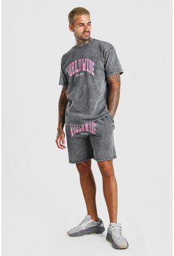 Charcoal Acid Wash Loose Fit Worldwide T-Shirt & Short