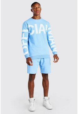 Dusty blue Official MAN Print Sweater Short Tracksuit
