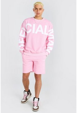 Pale pink Official MAN Print Sweater Short Tracksuit