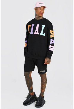 Black Official MAN Multi Print Sweater Short Tracksuit