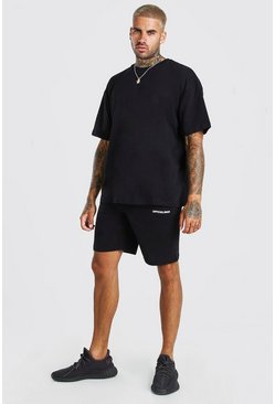 Black Oversized Official Back Print T-Shirt & Short Set