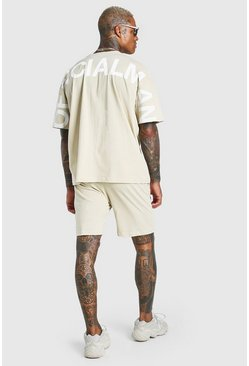 Stone Oversized Official Back Print T-Shirt & Short Set
