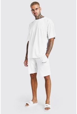 White Oversized Official Back Print T-Shirt & Short Set