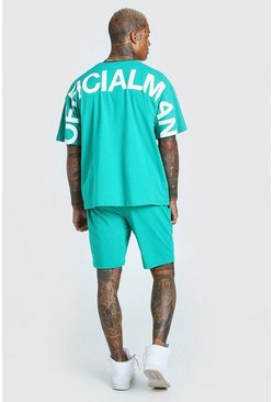 Green Oversized Official Back Print T-Shirt & Short Set