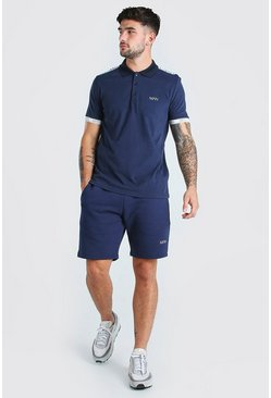 Navy Original MAN Tape Polo & Short Set