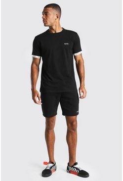Black Original MAN Print Waistband T-Shirt & Short Set