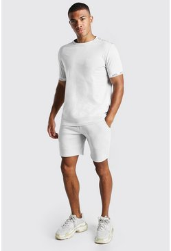 Ensemble short et t-shirt imprimé MAN Original, Gris clair