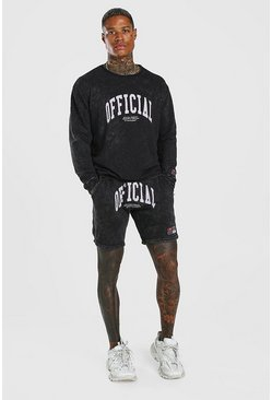 Charcoal Acid Wash Loose Fit Official Short Tracksuit