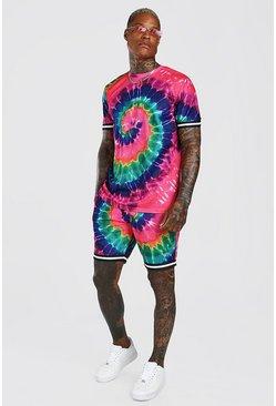 Pink Tie-dye Airtex T-Shirt & Short Set