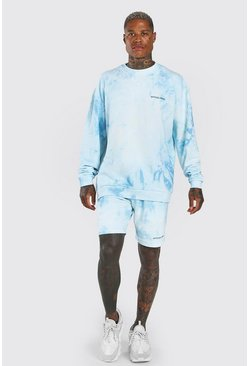 Light blue Oversized MAN Tie-dye Short Tracksuit