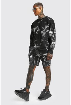 Black Oversized MAN Tie-dye Short Tracksuit