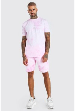 Light pink Tie-Dye Official MAN T-Shirt & Short Set