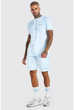 Light blue Tie-Dye Official MAN T-Shirt & Short Set