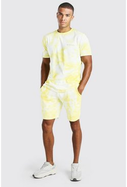 Yellow Tie-Dye Official MAN T-Shirt & Short Set