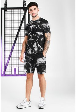 Ensemble short et t-shirt effet tie-dye MAN officiel, Noir