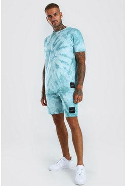 Green Multi Tie -Dye T-Shirt & Short Set with MAN Badge