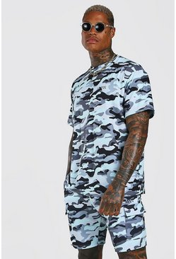 Light blue Loose Fit Camo Cargo T-Shirt & Short Set