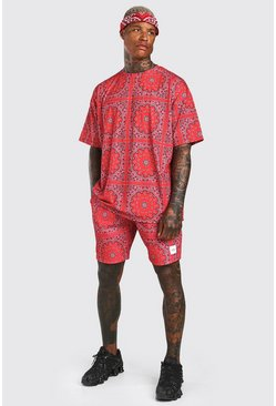 Ensemble short et t-shirt oversize bandana avec badge MAN, Rouge