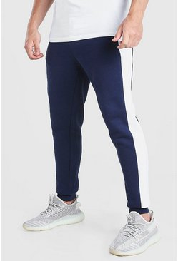 Navy Skinny Fit Jogger With Side Panel