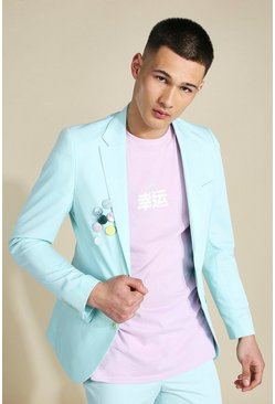 Mint Skinny Badged Single Breasted Suit Jacket