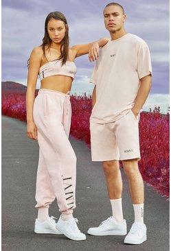 Pink His Printed Oversized Raw Hem T-Shirt & Short Set