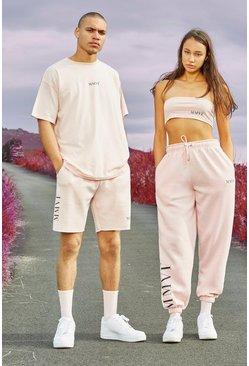 Pink Hers Spliced Print Bandeau & Jogger Set