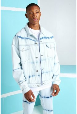 Ice blue Oversized Bleached Denim Jacket
