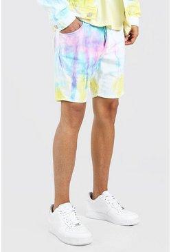 White Skinny Fit Bright Tie Dye Denim Shorts