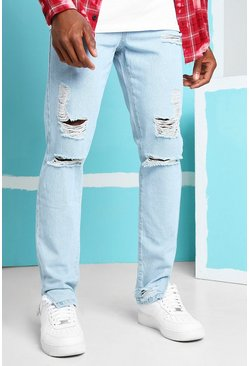 Ice blue Skinny Rigid Split Hem Jeans With Knee Rips