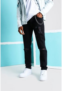 Washed black Rigid Straight Butterfly Jeans With Rips