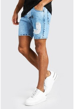 Washed blue Skinny Fit Butterfly Print Denim Short