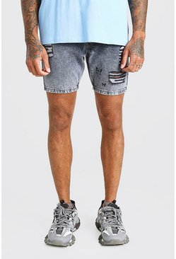 Light grey Skinny Fit Butterfly Print Denim Short