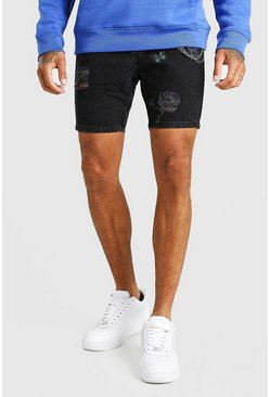 Washed black Skinny Fit Butterfly Print Denim Short