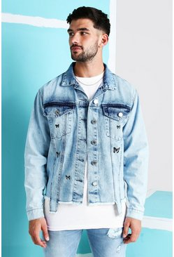 Light blue Loose Fit Denim Jacket With Butterfly Print