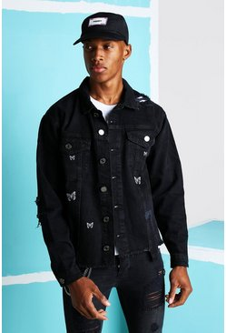 Black Loose Fit Denim Jacket With Butterfly Print