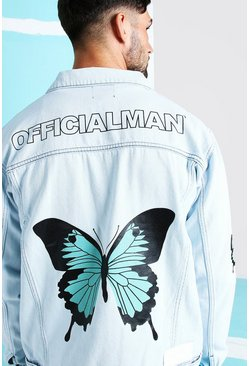 Light blue Loose Fit Butterfly Back Print Denim Jacket