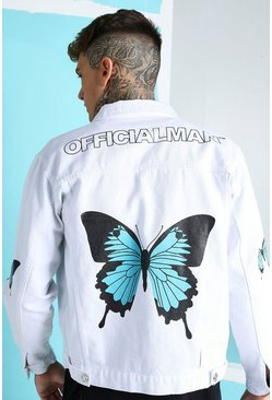White Loose Fit Butterfly Back Print Denim Jacket